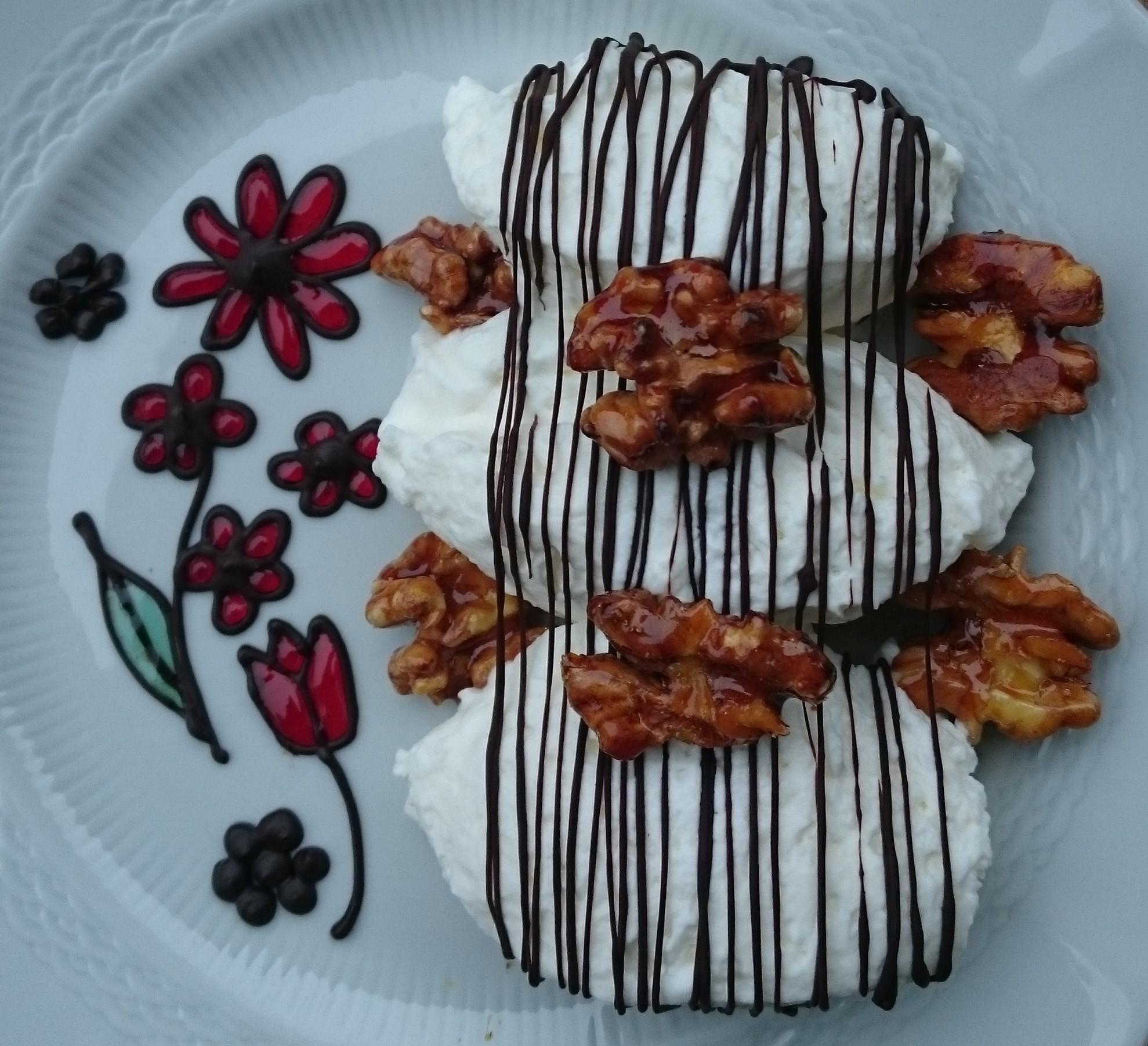 Nata con nueces caramelizadas